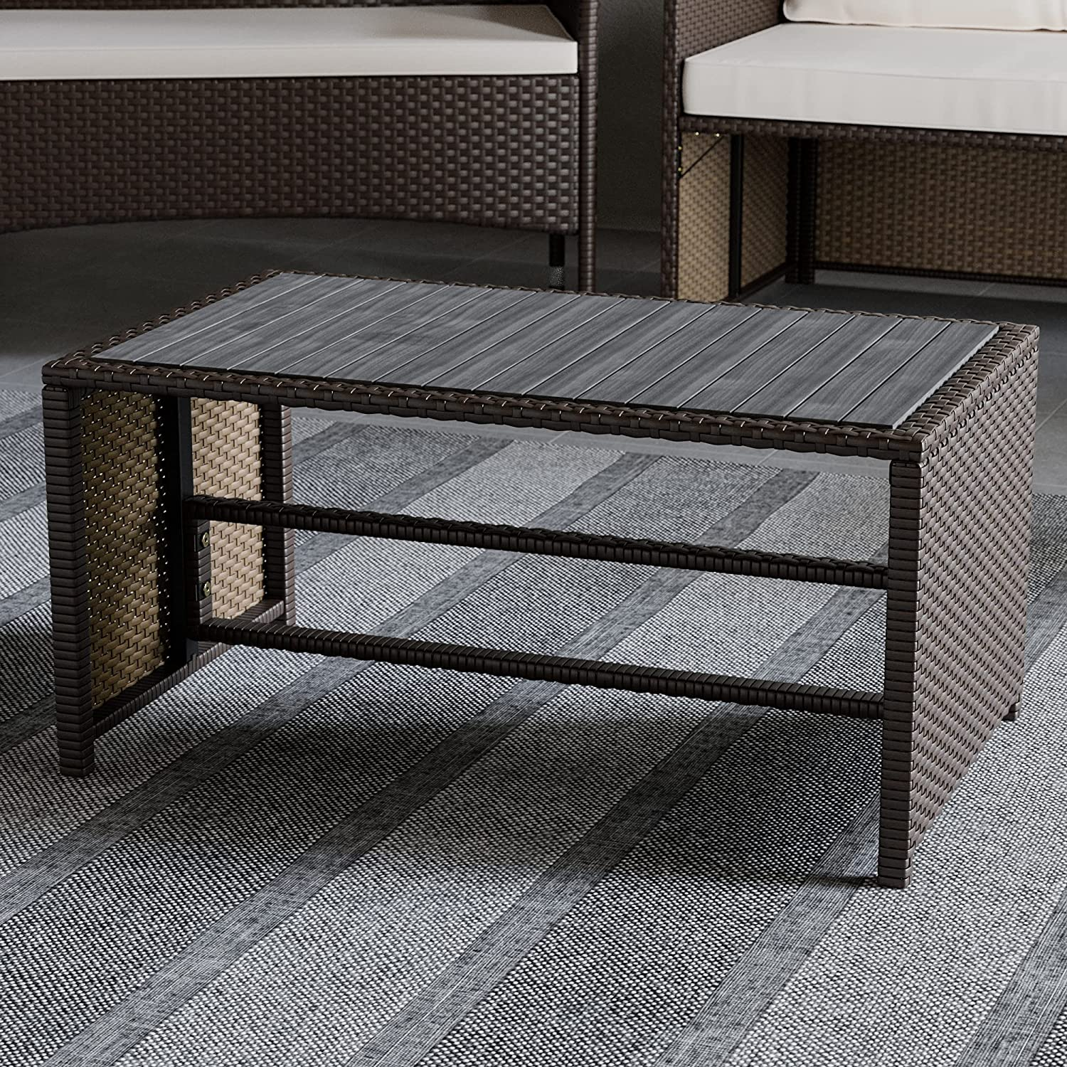 Edenbrook Bayview RattanPatioFurniture - Mix and Match Outdoor Furniture, Table Only, Brown Rattan/Grey Wood