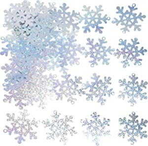 Silver Snowflakes Frozen Party Confetti - Winter Wonderland 1st Birthday Baby Shower Wedding Foil Metallic Sequins Table Confetti Christmas Party Sprinkles Confetti Decorations, 60g