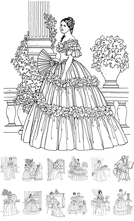 Adult Coloring Book 24 Pages 6quotx8quot Vintage Fashion Victorian Lady FLONZ
