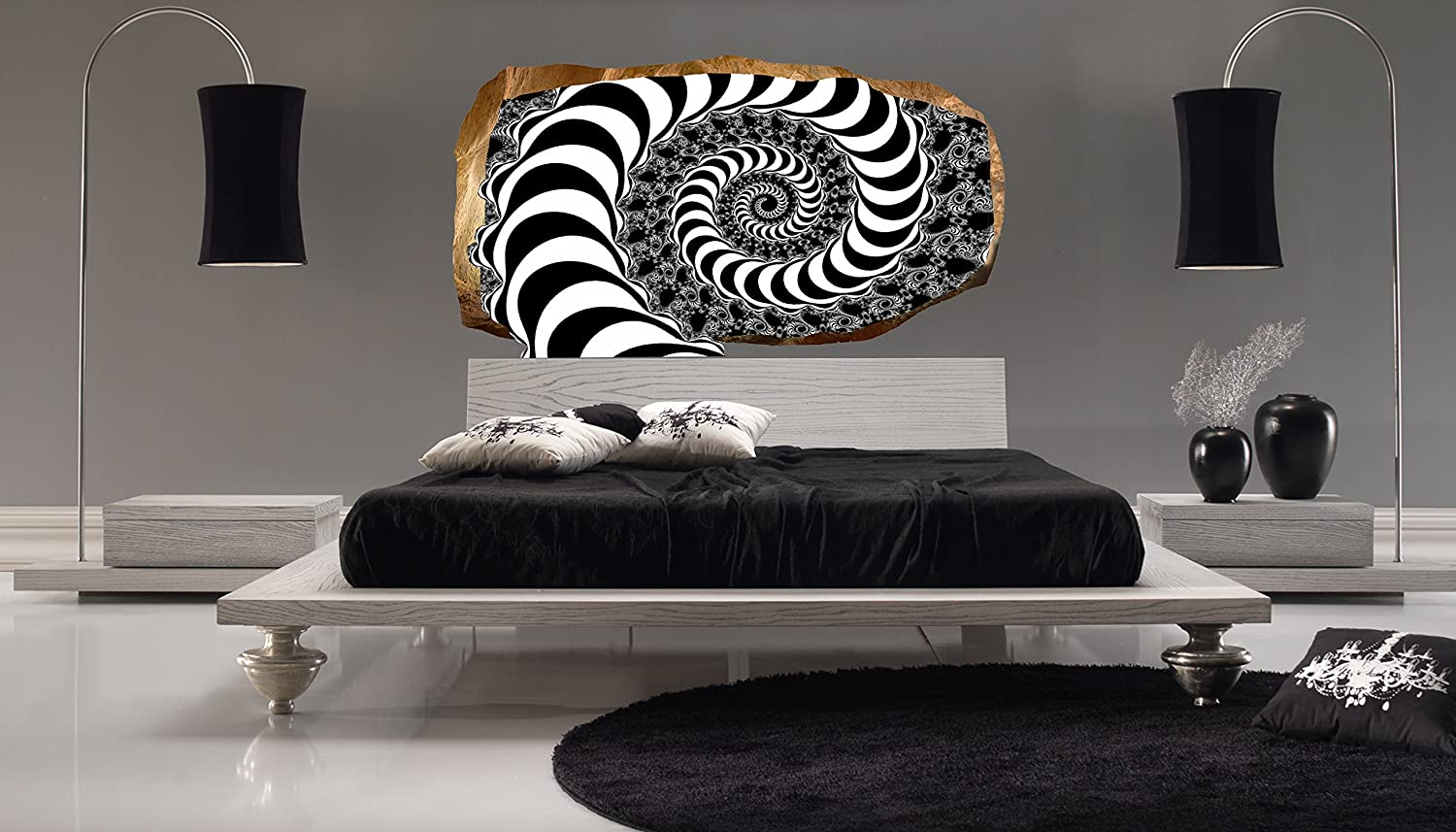 Startonight 3D Mural Wall Art Photo Decor Hypnotic Spiral Amazing Dual View  Surprise Large Wall Mural Wallpaper For Living Room Or Bedroom Abstract Wall  Art ...