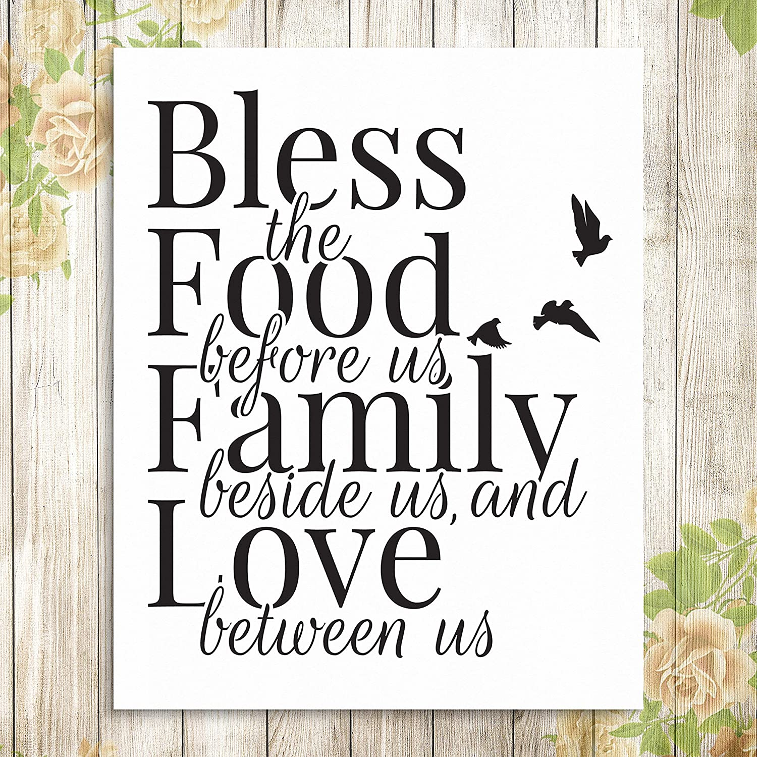 Bless The Food Before Us - Dining Room, Kitchen Decor Wall Art Print - UNFRAMED - 8x10