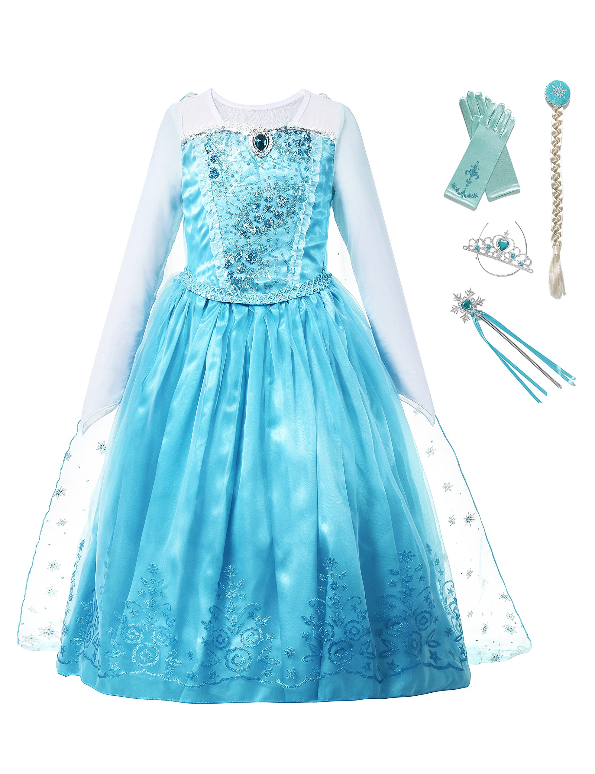 aibeiboutique Girls Princess Costume Ice Snow Queen Sequin Cosplay Dress up (2-3 Years)