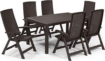 Keter - Set de mobiliario de jardín Melody/Montreal (mesa + 6 sillas), color marrón: Amazon.es: Jardín