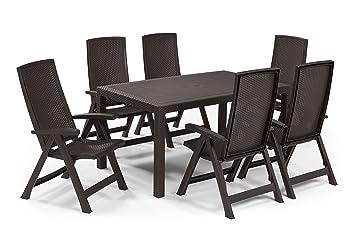 Keter - Set de mobiliario de jardín Melody/Montreal (mesa + 6 sillas ...