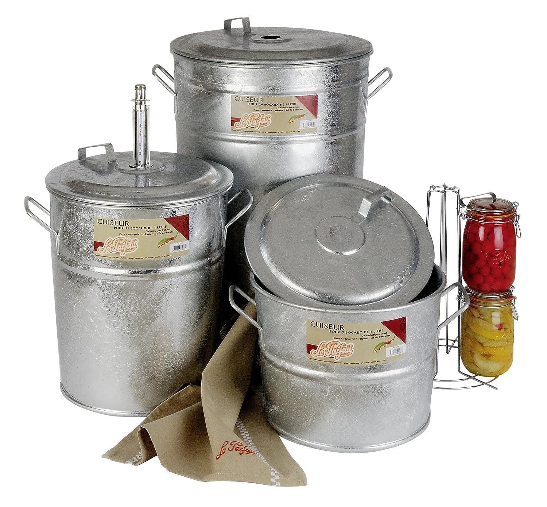 Le Parfait 2073005 - Olla esterilizadora para 11 tarros de conservas (metal, 45 x 38 x 44 cm), color gris: Amazon.es: Hogar