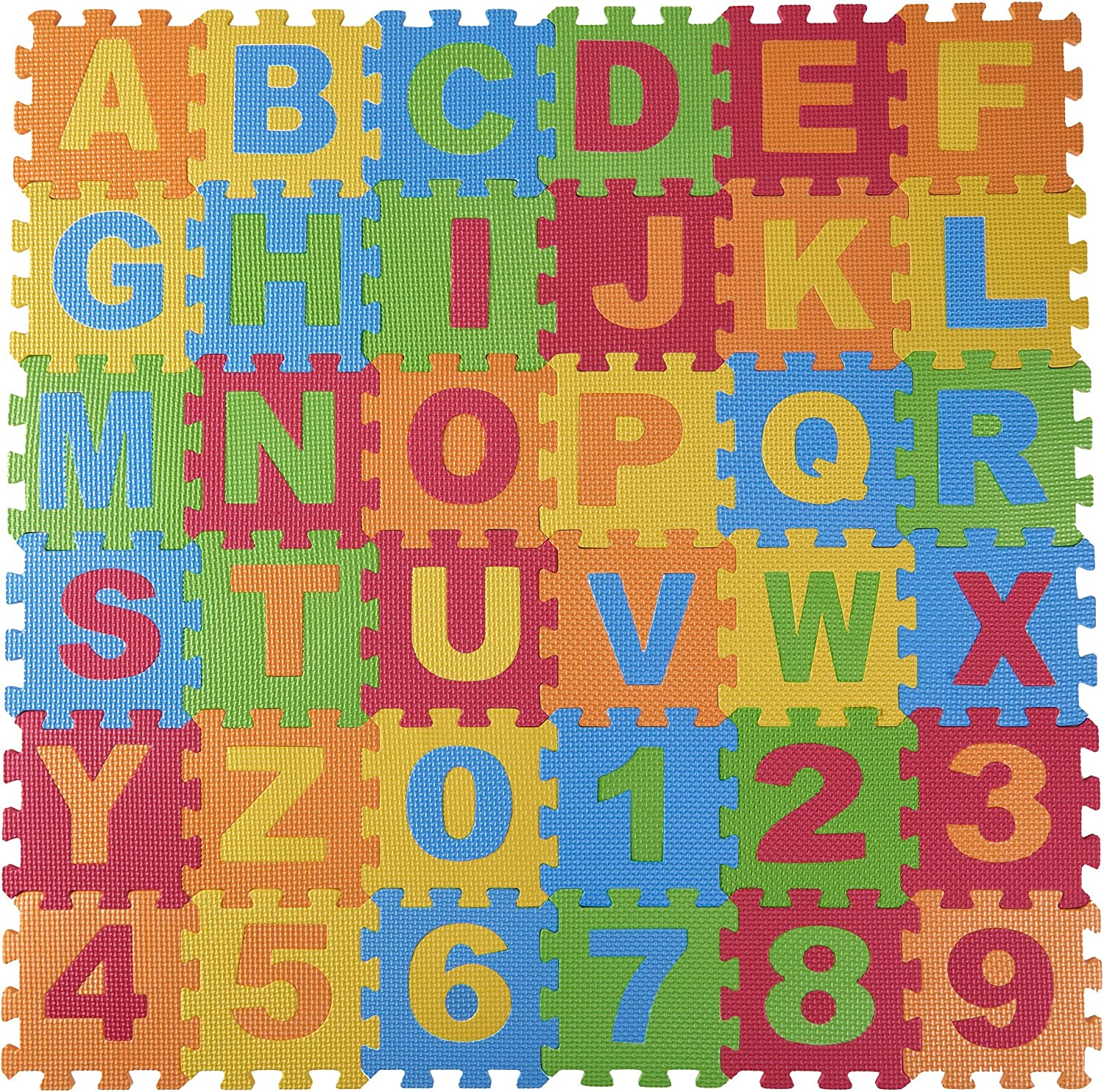 DIMPLE Baby Foam Play Mat (36-Piece Set) 6.25 x 6.25 Inches Interlocking Alphabet and Numbers Floor Puzzle Colorful EVA Tiles Girls, Boys Soft, Reusable, Easy to Clean by, DC12703L: Toys & Games