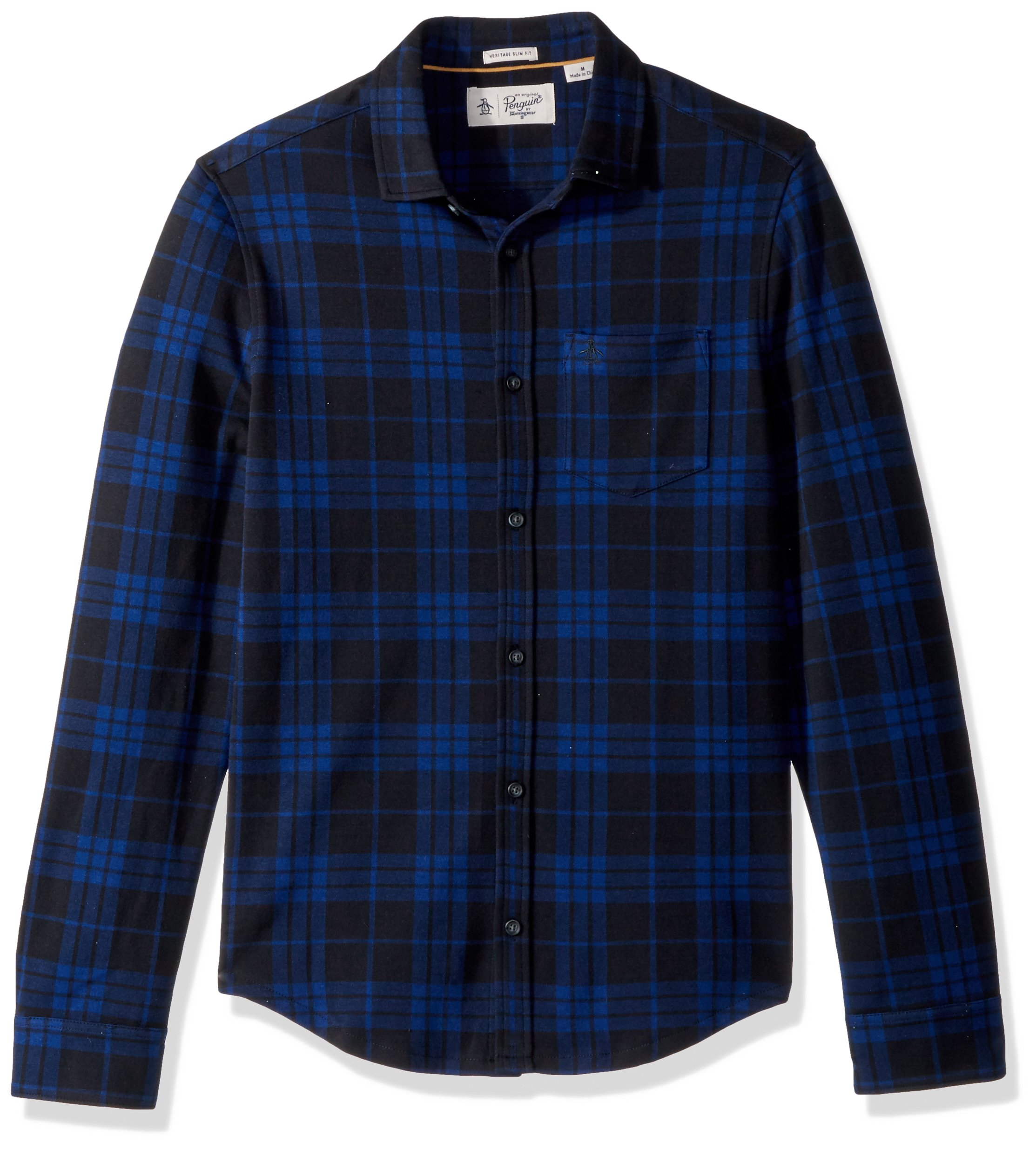 Original Penguin Men's Long Sleeve Knitted Plaid Shirt, Blue Depths, Extra Large