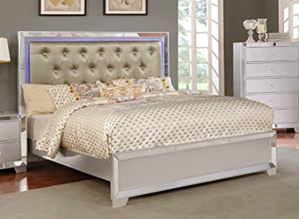 Major-Q Contemporary Modern Metalic Silver Finish Full Size Bed with  Crystal Tufted LED Lighting Headboard (SH52379F)