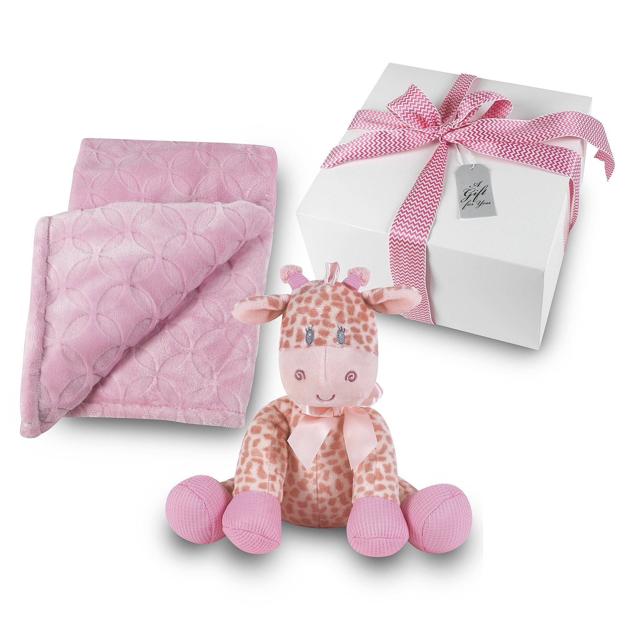 Baby Girl Gift Set - Plush Pink Blanket with Stuffed Pink Rattle Giraffe GIFT WRAPPED
