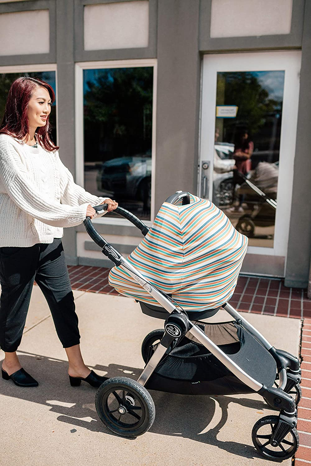 Baby Car Seat Cover Canopy and Nursing Cover Multi-Use Stretchy 5 in 1 GiftRetro by Copper Pearl