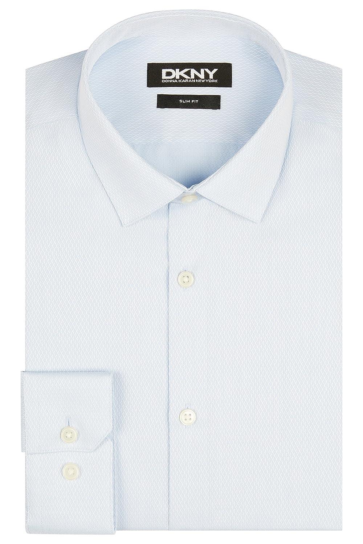 DKNY Men`s Slim Fit Sky Blue Single Cuff Textured Dobby Shirt