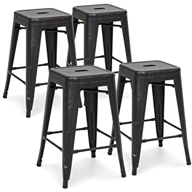 Best Choice Products 24in Metal Industrial Distressed Bar Counter Stools, Set of 4, Bronzed Black