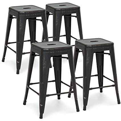 Astonishing Best Choice Products 24In Set Of 4 Stackable Modern Industrial Metal Counter Height Bar Stools Bronzed Black Caraccident5 Cool Chair Designs And Ideas Caraccident5Info