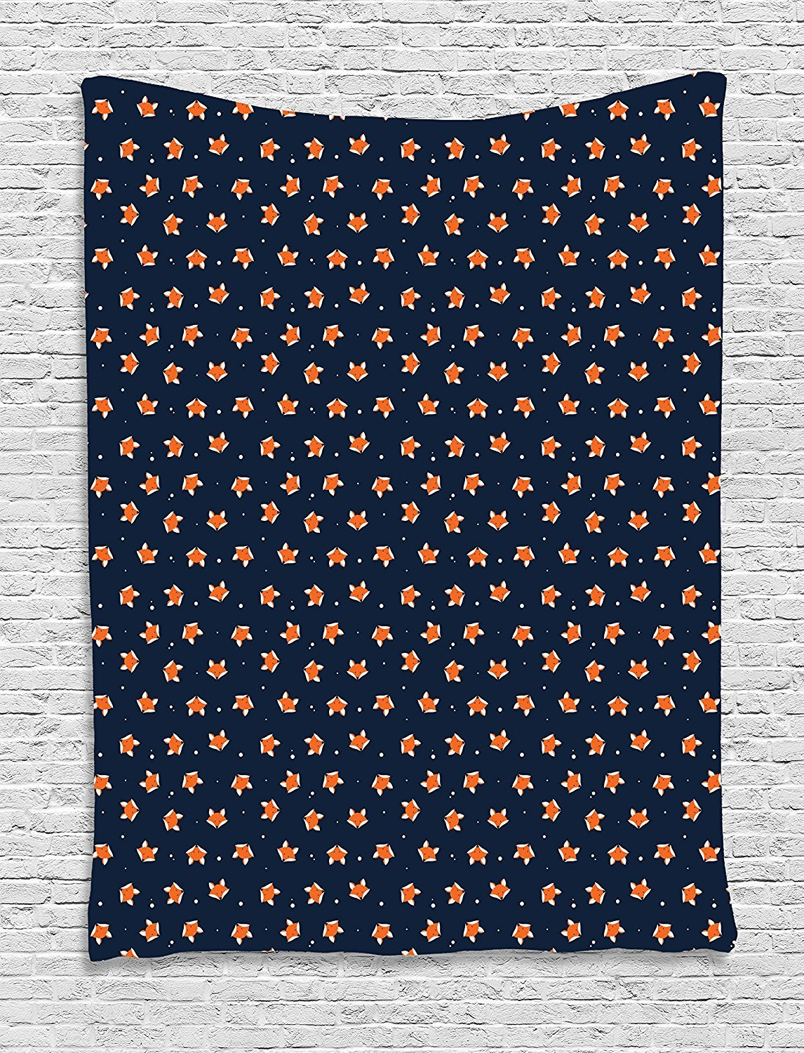 asddcdfdd Fox Tapestry, Orange Small Forest Animal Portraits Pattern on Abstract Dotted Blue Backdrop, Wall Hanging for Bedroom Living Room Dorm, 60 W X 80 L Inches, Navy Blue Orange