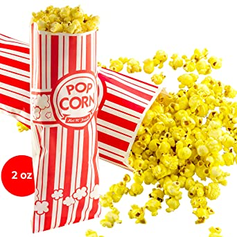 Popcorn Bags 25 Pack. Coated for Leak/Tear Resistance. Single Serving 2 oz Paper Sleeves in Nostalgic