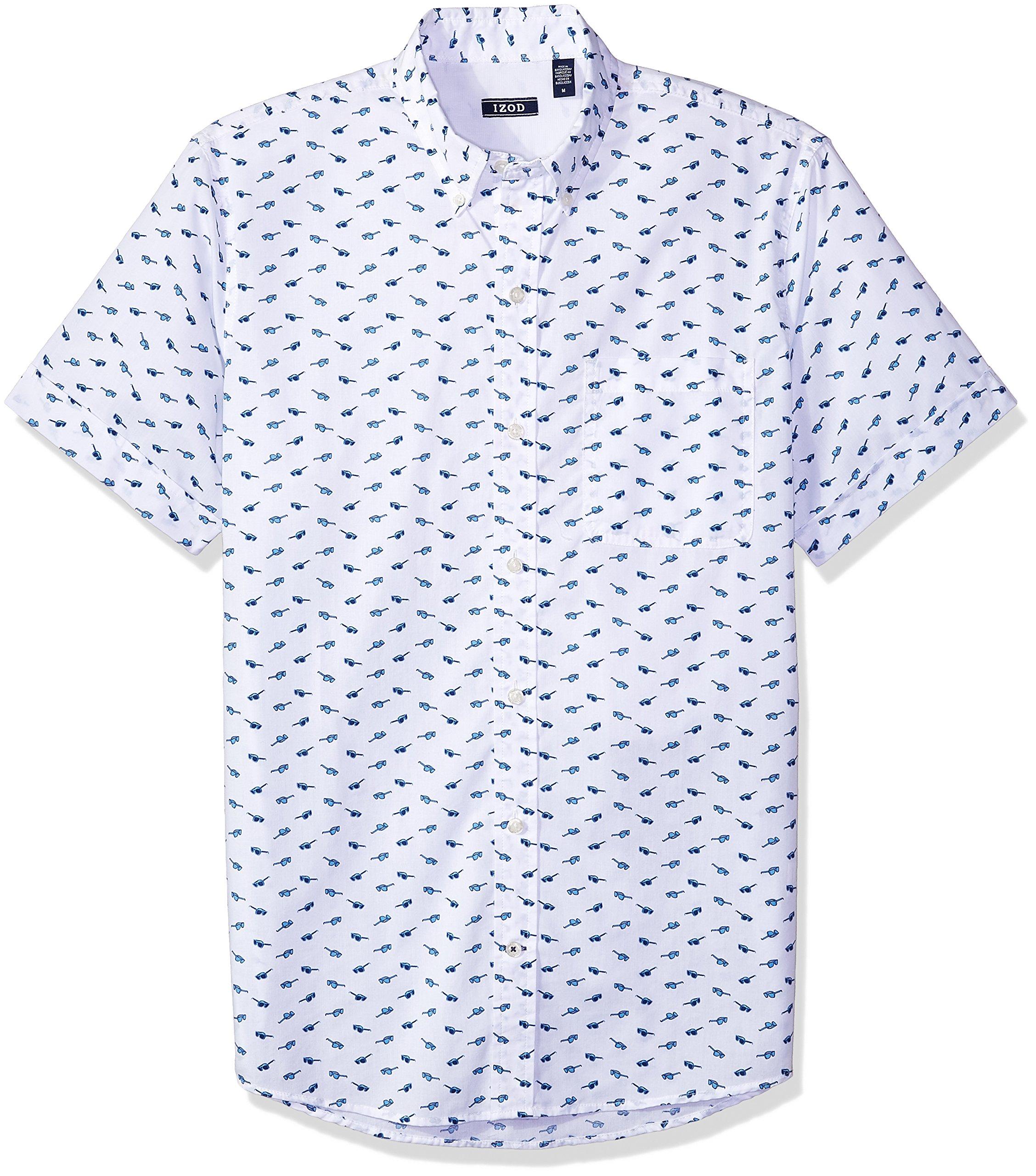 IZOD Men's Advantage Performance Easycare Plaid Short Sleeve Shirt, Glasses White, Medium