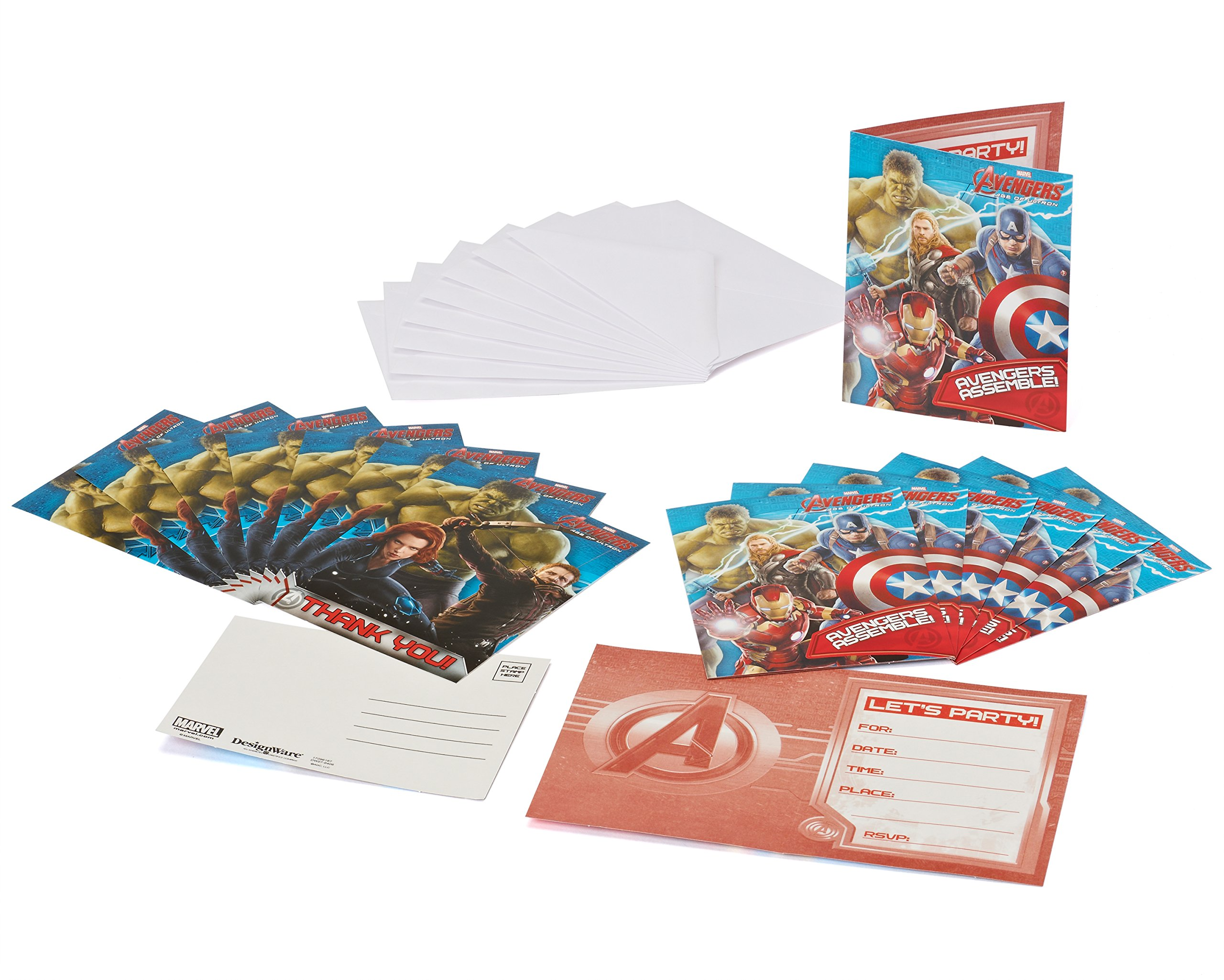 American Greetings 645416971294 Avengers Invite and Thank-You Combo Pack Party Supplies Novelty (8 Count)