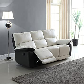 Modern Two Tone Bonded Leather Oversize Recliner Living Room Set (3 Seater) Part 83