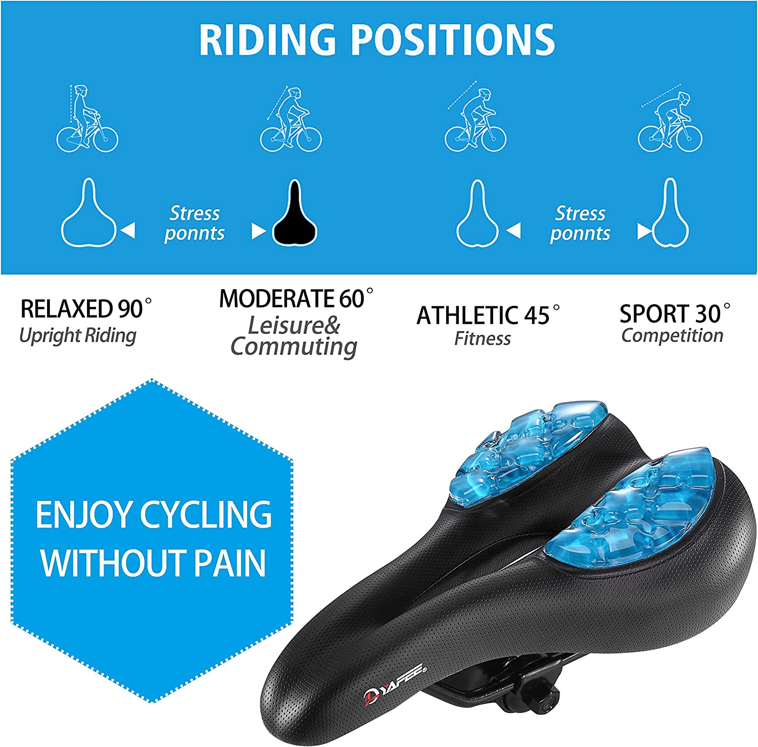 Improves Comfort for Mountain Bike Hybrid and Stationary Exercise Bike Selighting Mountain Bike Saddle Padded Bicycle Seat with Soft Cushion
