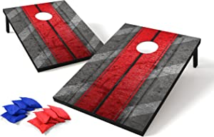 Backyard Champs Tailgate MDF Cornhole with 8 Regulation Bean Bag Set - 2 x 3 Feet, Red
