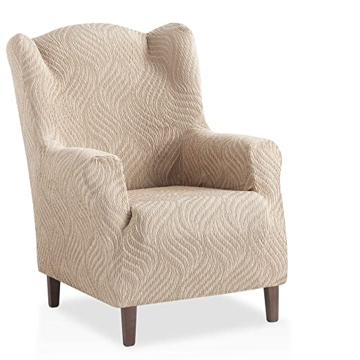 Funda de sillón orejero elástica Aitana - Color Marfil - Tamaño 1 Plaza (de 70 a 110 cm)