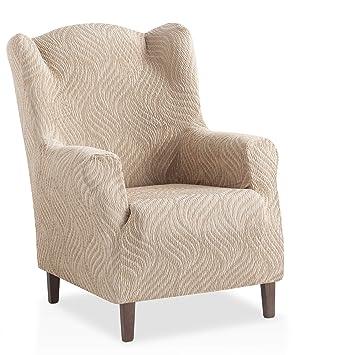 Funda de sillón orejero elástica Aitana - Color Marrón - Tamaño 1 Plaza (de 70 a 110 cm)