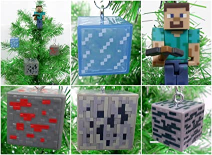 Minecraft Christmas.Ornament Minecraft Christmas Tree Set Featuring Steve And Periodic Element Cube Average 1 To 3 Tall