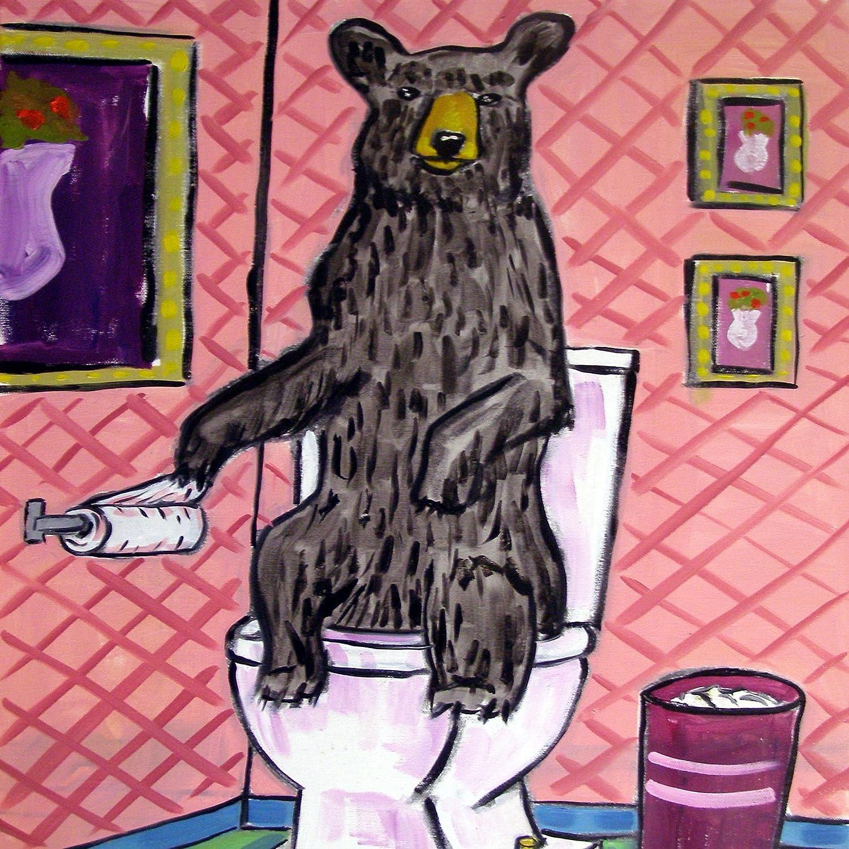 Black bear in the Bathroom Decor art tile coaster gift