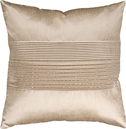 Artistic Weavers HH-019 Hand Crafted 100 Polyester Champagne 18 x 18 Solid Decorative Pillow