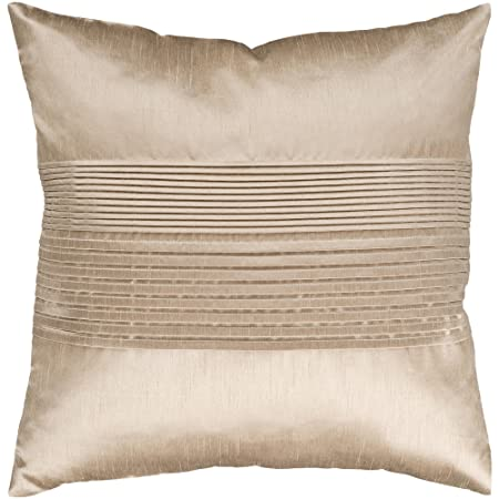 Surya HH-019 Hand Crafted 100 Polyester Champagne 18 x 18 Solid Decorative Pillow