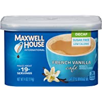 Maxwell House International Cafe Flavored Instant Coffee, French Vanilla, Decaf & Sugar Free, 4 oz Canister (Pack of 4)