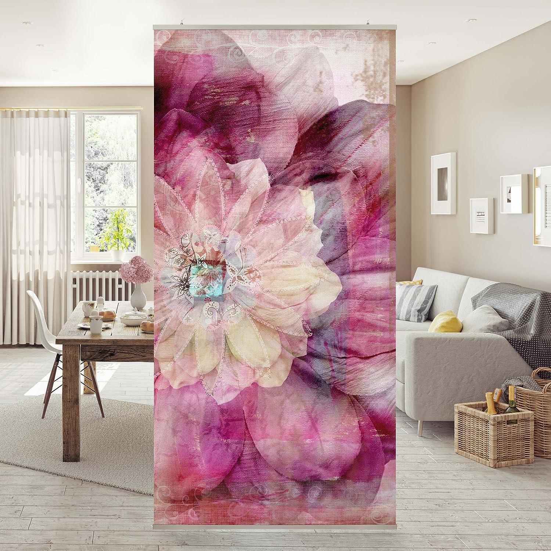 Halterung Raumteiler Top Blumen Raumtrenner Orchideen Bild 250x120cm transp