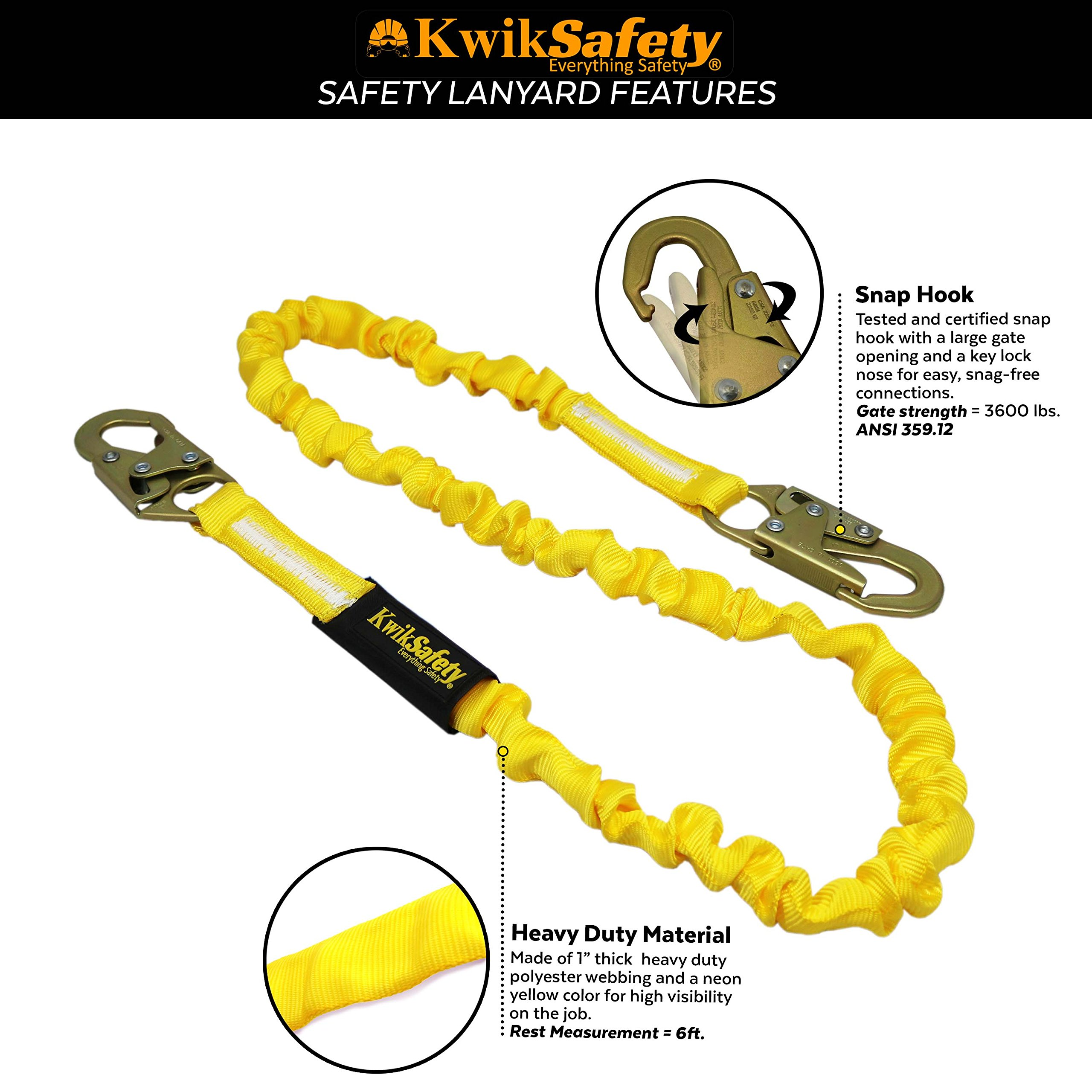 KwikSafety (Charlotte, NC) RATTLER 2 PACK (Internal Shock Absorber) Single Leg 6ft Safety Lanyard, Tool Lanyard OSHA ANSI Fall Protection Equipment Snap Hooks Construction Arborist Roofing by KwikSafety (Image #4)