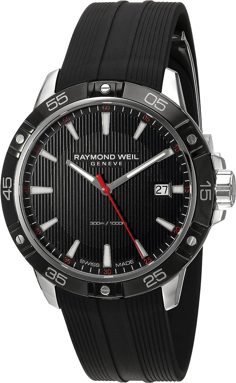 Raymond Weil Men's Tango Stainless Steel Swiss-Quartz Watch with Rubber Strap, Black, 19 (Model: 8160-SR1-20001)