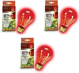 Zilla Night Red Incandescent Heat Bulb, 100-Watt (3 Pack)