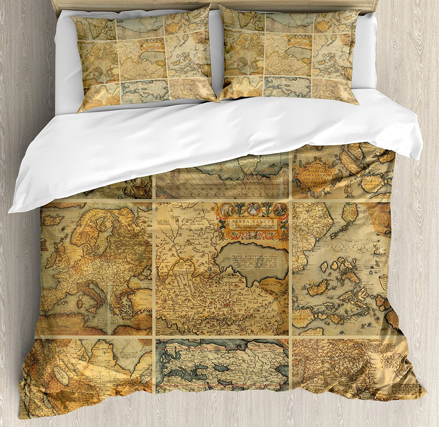 7509b55335e6a Ambesonne World Map Duvet Cover Set Queen Size, Collage with Antique Old World  Maps Vintage Ancient Collection of Civilization, Decorative 3 Piece Bedding  ...