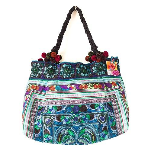Amazon.com: changnoi Hill Tribe Bolsa Hmong tela bordada ...