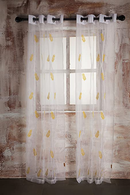 SHEER CURTAIN WHITE LEAF EMBROIDERY