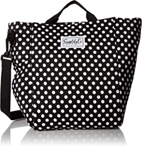 Simplily Co. Insulated Lunch Bag with Shoulder Strap and Drink Side Pocket (Black and White Dots, 11 inches tall)