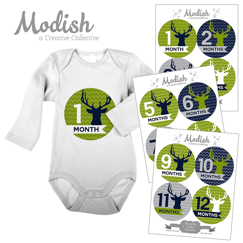 【売り切り御免!】 12 Monthly Baby Stickers, Deer, Woodland, Antlers, Boy, Modish Baby Month Belly Stickers, Baby Month Stickers, First Year Stickers Months 1-12, Chevron, Green, Lime, Blue, Navy, Gray, Grey, Woodland, Baby Boy by Modish - Creative Collective B00XGY3KOK, HUB LIKE:99215ebb --- mvd.ee