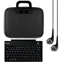SumacLife Cady 12-Inch Tablet Bolsa para Microsoft Surface Pro 4& 3con teclado Bluetooth & Negro Auriculares De Diadema (Negro)