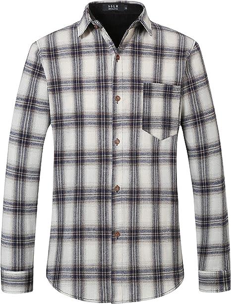 SSLR Camisa de franela para hombre, corte ajustado, manga larga, diseño de leñador