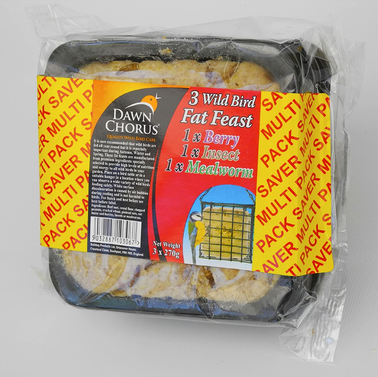Dawn Chorus 48 Pack Fat Feast For Wild Birds With Mealworms, Berries and Insects Flavours Twootz cake065