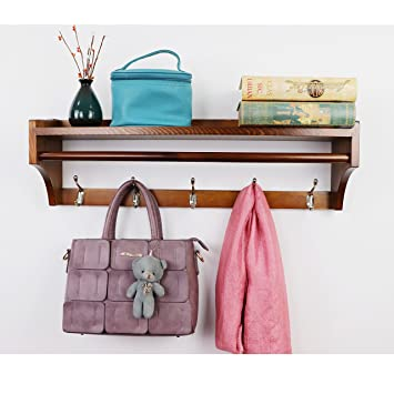 Perchero de pared ,Pared Perchero,Percha de madera maciza ,moderna multifuncional 5 ganchos estante de pared soporte de exhibición perchas Dormitorio ...