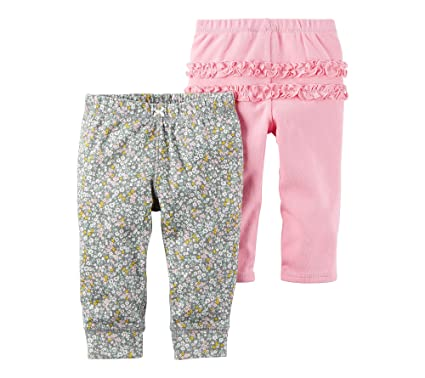 3373d3db3 Amazon.com: Carter's Baby Girls' 2-Pack Pants: Clothing