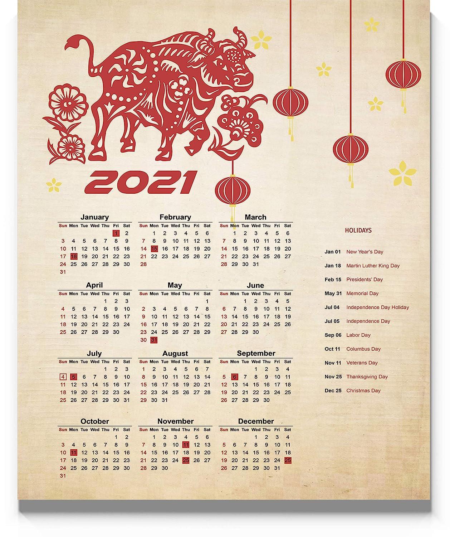 Amazon.com: Chinese Lunar Year Of The Ox Calendar 2021, 11x14 inch