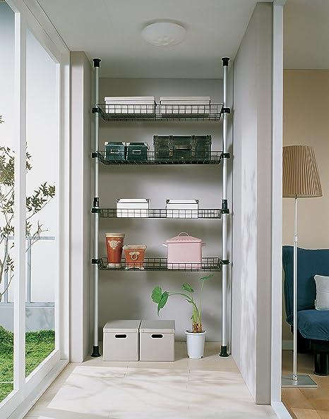 SoBuy® Perchero Extensible (85 x 38 x 200-287 cm), 4 cestas, Metal y plástico, FRG105, ES