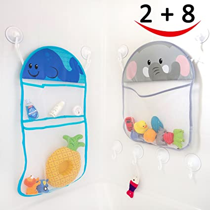 2 Bath Toy Organizer and 8 Ultra Strong Suction Hooks Multi use Organization and Storage  sc 1 st  Amazon.com & Amazon.com: 2 Bath Toy Organizer and 8 Ultra Strong Suction Hooks ...