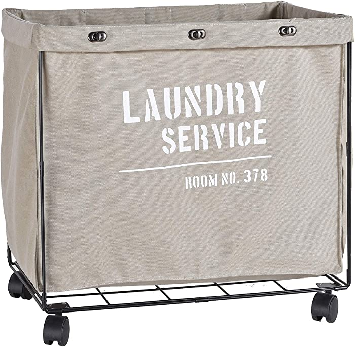 Danya B. Army Canvas Laundry Hamper on Wheels, Canvas Laundry Bag, Laundry Basket with Wheels