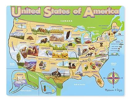 Amazon.com: Melissa & Doug USA Map Wooden Jigsaw Puzzle (45 pcs ...